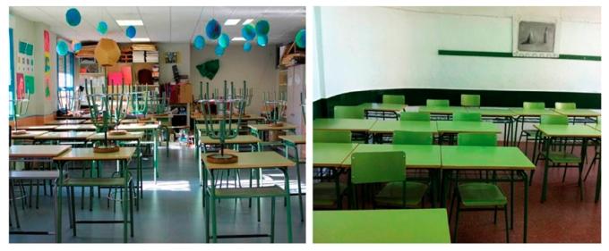 2. Aulas de secundaria desde dónde se desarrolló la implementación educativa de esta investigación. Respectivamente, Ies Castillo del Águila (Toledo) y Ies Lourdes en Madrid.